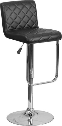 Contemporary Vinyl Adjustable Height Barstool With Chrome Base Black Bar Chair