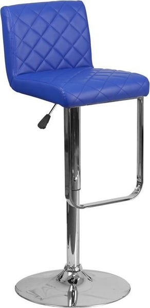 Contemporary Vinyl Adjustable Height Barstool With Chrome Base Blue Bar Chair
