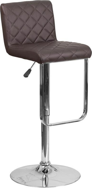 Contemporary Vinyl Adjustable Height Barstool With Chrome Base Brown Bar Chair
