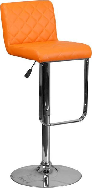 Contemporary Vinyl Adjustable Height Barstool With Chrome Base Orange Bar Chair