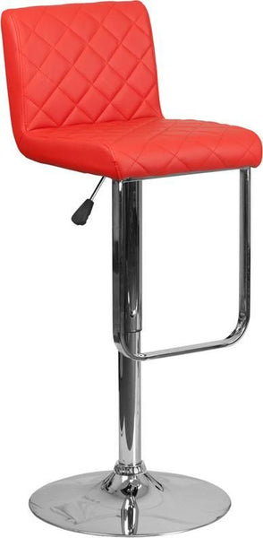 Contemporary Vinyl Adjustable Height Barstool With Chrome Base Red Bar Chair