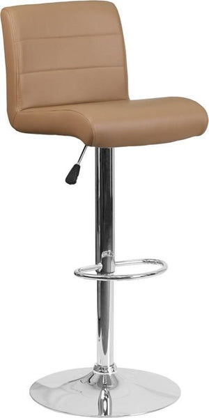 Contemporary Vinyl Adjustable Height Barstool With Chrome Base Cappuccino Bar Chair