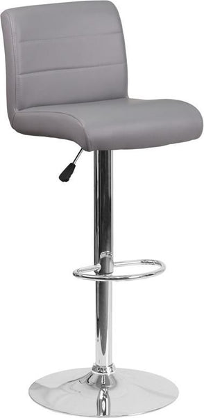 Contemporary Vinyl Adjustable Height Barstool With Chrome Base Gray Bar Chair