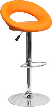 Contemporary Vinyl Rounded Back Adjustable Height Barstool With Chrome Base Orange Bar Chair