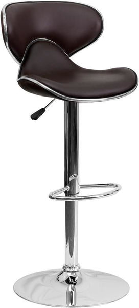 Contemporary Cozy Mid-Back Vinyl Adjustable Height Barstool With Chrome Base Brown Bar Chair