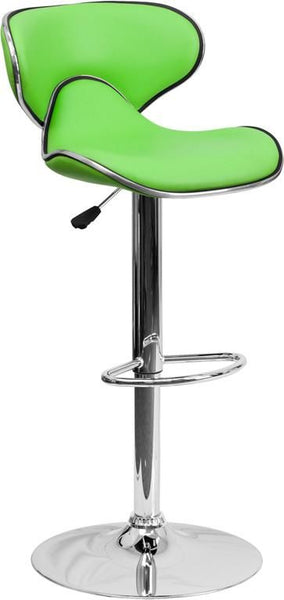 Contemporary Cozy Mid-Back Vinyl Adjustable Height Barstool With Chrome Base Green Bar Chair