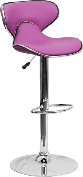 Contemporary Cozy Mid-Back Vinyl Adjustable Height Barstool With Chrome Base Purple Bar Chair