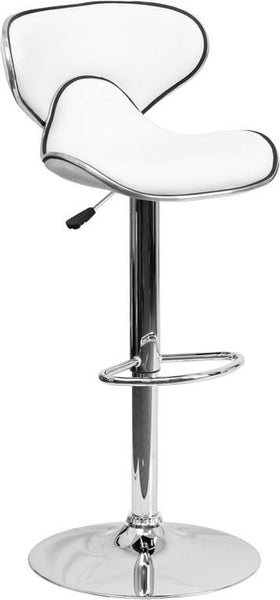 Contemporary Cozy Mid-Back Vinyl Adjustable Height Barstool With Chrome Base White Bar Chair