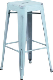 30'' High Backless Distressed Industrial Modern Metal Indoor-Outdoor Barstool (Multiple Colors) Blue Bar Chair