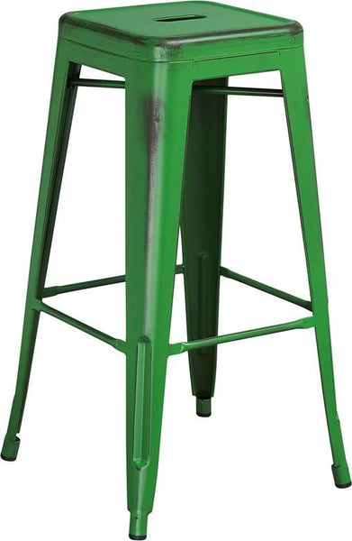 Bar Chairs - Flash Furniture ET-BT3503-30-GN-GG 30'' High Backless Distressed Industrial Modern Metal Indoor-Outdoor Barstool (Multiple Colors) | 889142024576 | Only $54.80. Buy today at http://www.contemporaryfurniturewarehouse.com