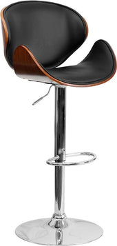 Walnut Bentwood Adjustable Height Barstool With Curved Black Vinyl Seat And Back Black, Bar Chair