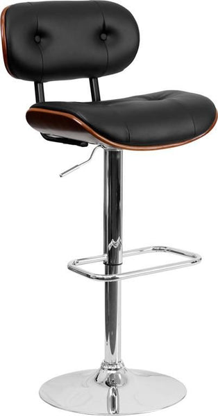 Beech Bentwood Adjustable Height Barstool With Button Tufted Black Vinyl Upholstery Black, Walnut Bar Chair