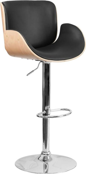Walnut Bentwood Adjustable Height Barstool With Curved Black Vinyl Seat Beechwood, Bar Chair