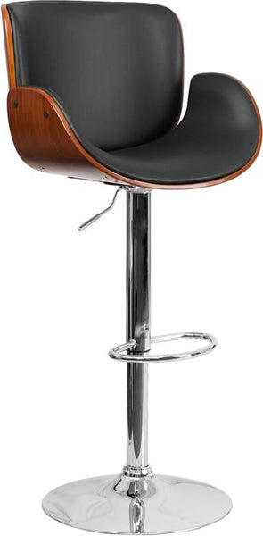 Walnut Bentwood Adjustable Height Barstool With Curved Black Vinyl Seat Black, Bar Chair