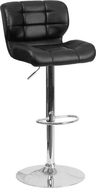 Contemporary Tufted Red Vinyl Adjustable Height Barstool With Chrome Base Black Bar Chair