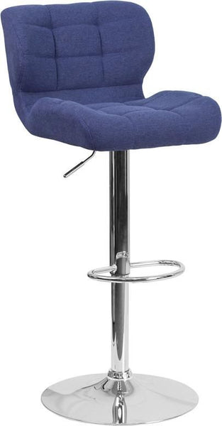 Bar Chairs - Flash Furniture SD-SDR-2510-BL-FAB-GG Contemporary Tufted Brown Fabric Adjustable Height Barstool with Chrome Base | 889142047674 | Only $94.80. Buy today at http://www.contemporaryfurniturewarehouse.com