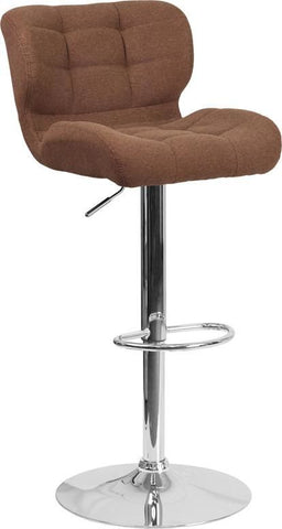 Bar Chairs - Flash Furniture SD-SDR-2510-BRN-FAB-GG Contemporary Tufted Brown Fabric Adjustable Height Barstool with Chrome Base | 889142047681 | Only $94.80. Buy today at http://www.contemporaryfurniturewarehouse.com