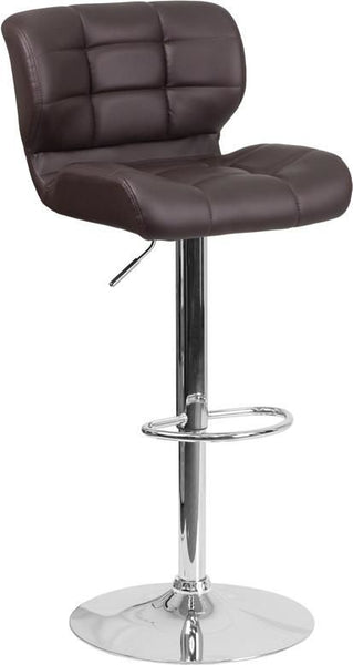 Contemporary Tufted Red Vinyl Adjustable Height Barstool With Chrome Base Brown Bar Chair