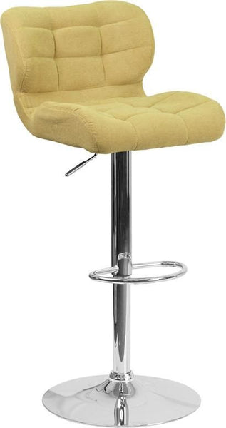 Bar Chairs - Flash Furniture SD-SDR-2510-GN-FAB-GG Contemporary Tufted Brown Fabric Adjustable Height Barstool with Chrome Base | 889142047711 | Only $94.80. Buy today at http://www.contemporaryfurniturewarehouse.com