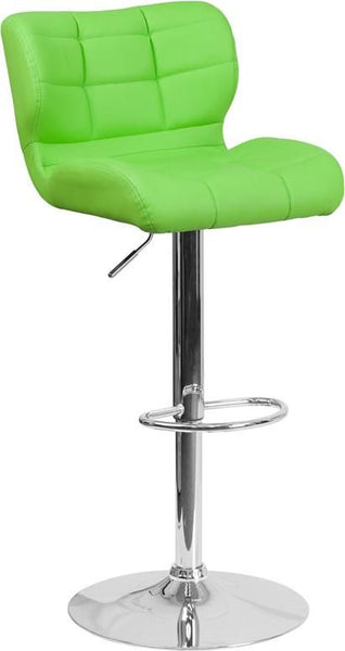 Contemporary Tufted Red Vinyl Adjustable Height Barstool With Chrome Base Green Bar Chair