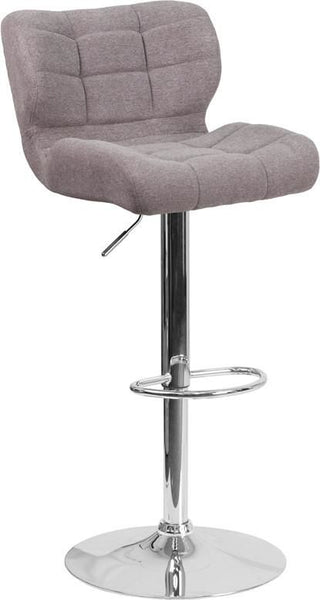 Bar Chairs - Flash Furniture SD-SDR-2510-GY-FAB-GG Contemporary Tufted Brown Fabric Adjustable Height Barstool with Chrome Base | 889142047735 | Only $94.80. Buy today at http://www.contemporaryfurniturewarehouse.com