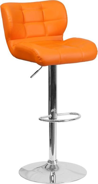 Contemporary Tufted Red Vinyl Adjustable Height Barstool With Chrome Base Orange Bar Chair