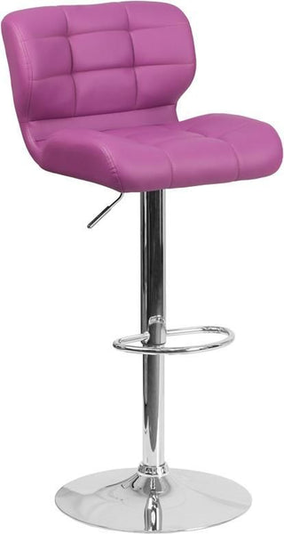Contemporary Tufted Red Vinyl Adjustable Height Barstool With Chrome Base Purple Bar Chair