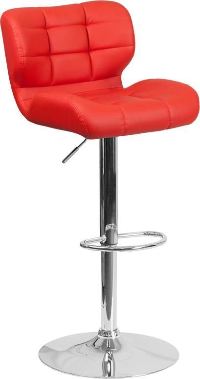 Contemporary Tufted Red Vinyl Adjustable Height Barstool With Chrome Base Bar Chair