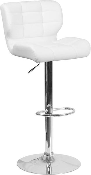 Contemporary Tufted Red Vinyl Adjustable Height Barstool With Chrome Base White Bar Chair