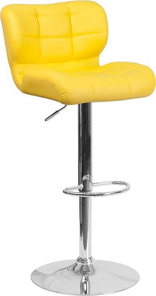 Contemporary Tufted Red Vinyl Adjustable Height Barstool With Chrome Base Yellow Bar Chair