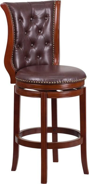 30'' High Brandy Wood Barstool With Black Leather Swivel Seat Black, Chestnut Bar Chair