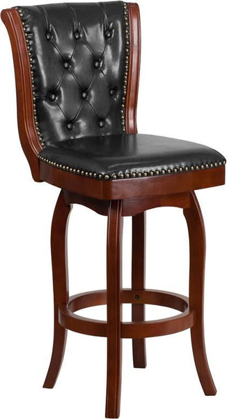 30'' High Cherry Wood Barstool With Black Leather Swivel Seat Black, Bar Chair