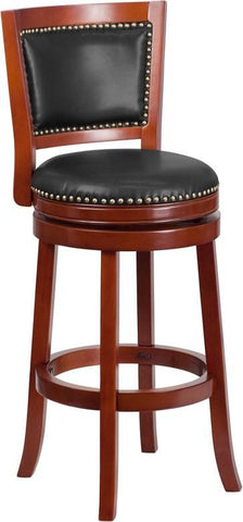 30'' High Dark Cherry Wood Barstool With Walnut Leather Swivel Seat Cherry, Bar Chair