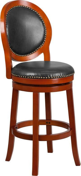 30'' High Cappuccino Wood Barstool With Black Leather Swivel Seat Cherry, Walnut Bar Chair