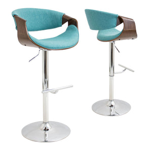 Bar Chairs - Lumisource BS-CURVO WL+TL Curvo Barstool Walnut, Teal | 681144440374 | Only $164.80. Buy today at http://www.contemporaryfurniturewarehouse.com