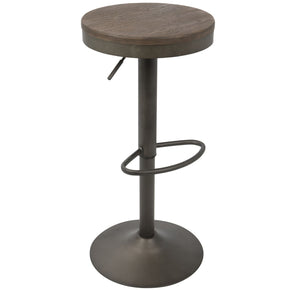 Bar Chairs - Lumisource BS-DAK AN+BN2 Dakota Adjustable Barstool Antique Brown (Set of 2) | 681144430627 | Only $159.98. Buy today at http://www.contemporaryfurniturewarehouse.com