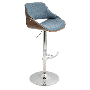 Fabrizzi Barstool Walnut Blue Bar Chair