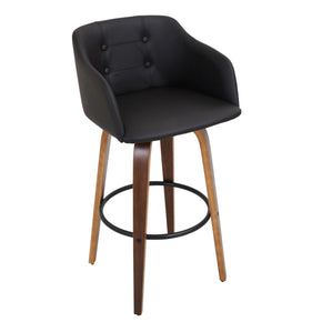 Bruno Barstool Walnut Black Bar Chair