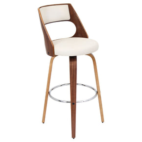 Cecina Barstool Walnut Cream Bar Chair
