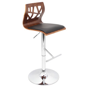 Bar Chairs - Lumisource BS-JY-FL WAL+BK Folia Barstool Walnut, Black | 681144438388 | Only $129.80. Buy today at http://www.contemporaryfurniturewarehouse.com