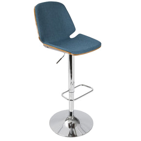 Serena Barstool Walnut Wood Blue Fabric Bar Chair
