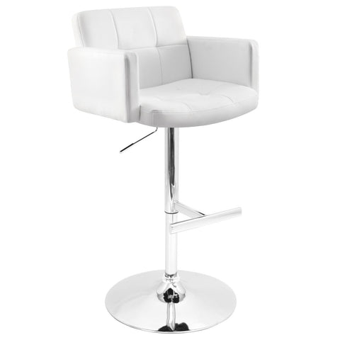 Bar Chairs - Lumisource BS-TW-STOUT W Stout White Barstool With Padded Seat, High Back And Armrests | 681144429140 | Only $169.80. Buy today at http://www.contemporaryfurniturewarehouse.com
