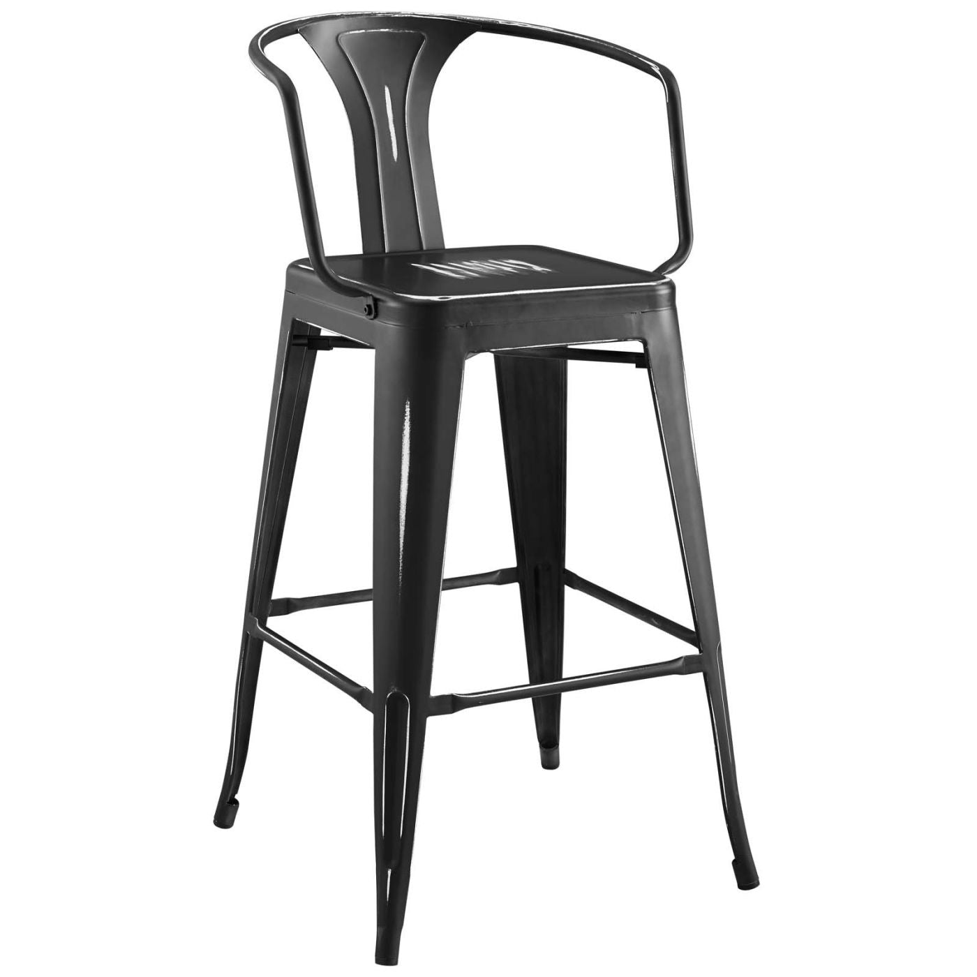Promenade Cafe And Bistro Style Bar Stool Powder Coated Steel Black Chair  ...