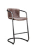 Freeman Modern Industrial Bar Stool Light Brown Distressed Leather (Set Of 2)