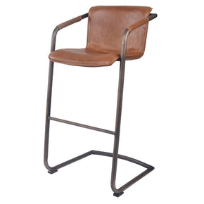 Indy Pu Leather Bar Stool Antique Cigar Brown (Set Of 2) Chair