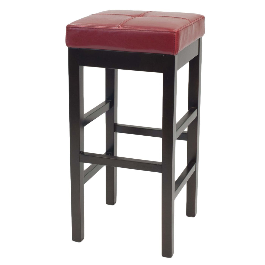 Valencia backless leather bar stool red chair