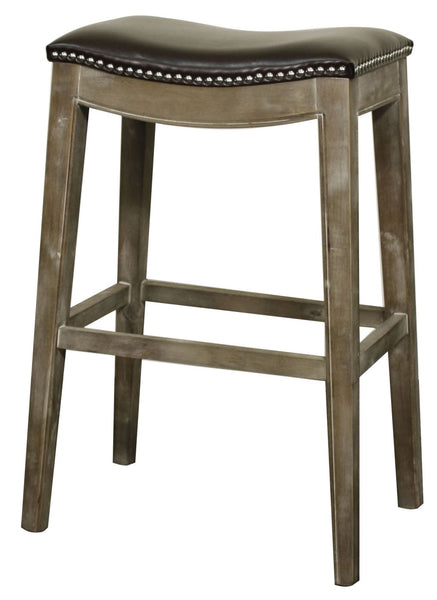 Elmo Bonded Leather Bar Stool Mystique Gray Frame Brown Chair