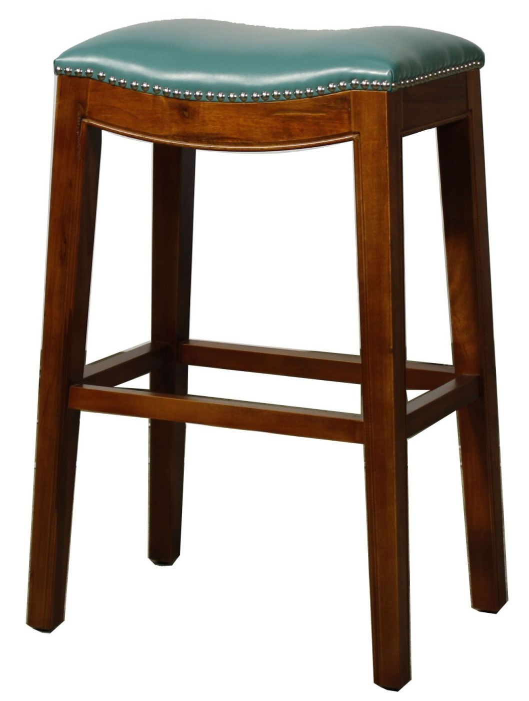 Elmo Bonded Leather Bar Stool Turquoise By New Pacific