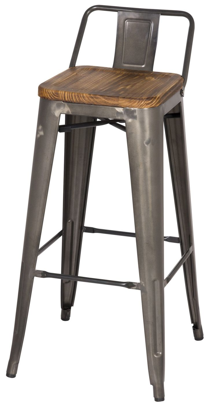 Amazing Metropolis Low Back Bar Stool Wood Seat Gunmetal Set Of 4 Caraccident5 Cool Chair Designs And Ideas Caraccident5Info