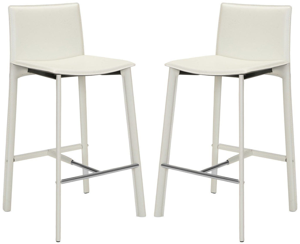 Janet Bar Stool (Set Of 2) White Bonded Leather Chair